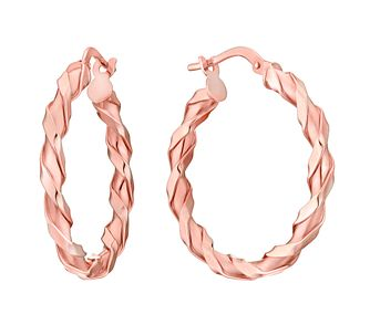 9ct Rose Gold Twist Creole Hoop Earrings - Product number 3060586