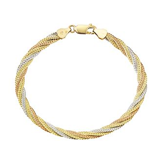 9ct Three Colour Gold Plaited Herringbone Chain Bracelet - Product number 3061280