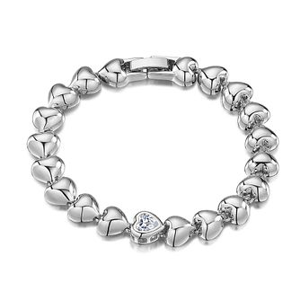 Buckley London Rhodium Plated Crystal Heart Bead Bracelet - Product number 3061752