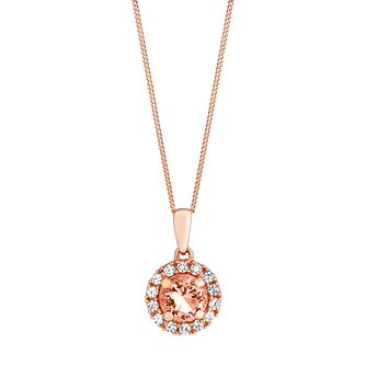 9ct rose gold simulated morganite & cubic zirconia pendant - Product number 3063119