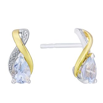 9ct Yellow Gold Silver and Diamond Aquamarine Earrings - Product number 3063585