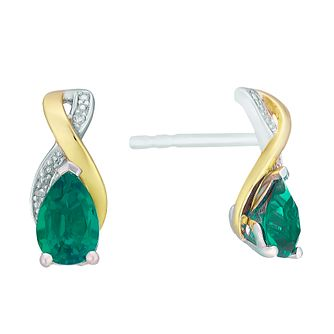 9ct Yellow Gold Silver and Created Emerald Earrings - Product number 3063623