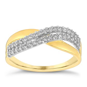 9ct gold & rhodium-plated cubic zirconia wave band ring - Product number 3065294