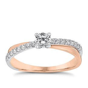 9ct rose gold & rhodium-plated cubic zirconia solitaire ring - Product number 3066169