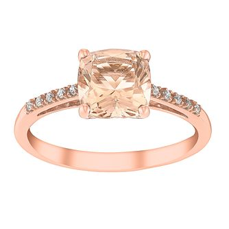 9ct rose gold simulated morganite and cubic zirconia ring - Product number 3068056