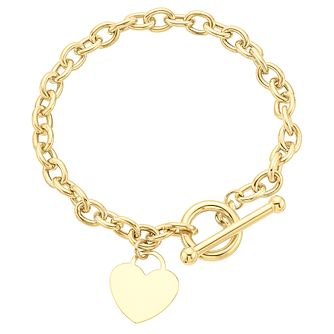 9ct yellow gold heart charm t-bar bracelet - Product number 3068277