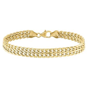 9ct yellow gold two row link bracelet - Product number 3068439