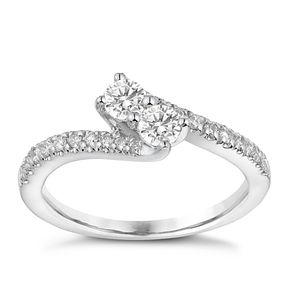 Ever Us 14ct White Gold 1/3 Carat Diamond Twist Ring - Product number 3068692
