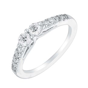 14ct White Gold Two Stone 1/2 Carat Diamond Ring - Product number 3069818