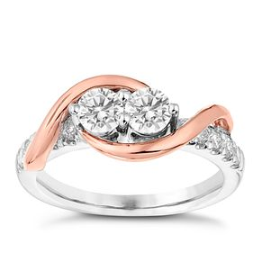 Ever Us 14ct White & Rose Gold 1/2 Carat Diamond Ring - Product number 3070549