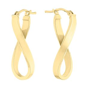 9ct yellow gold long twist creole earrings - Product number 3071596