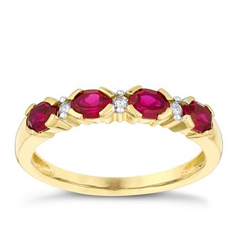 9ct yellow gold diamond & created ruby ring - Product number 3073416
