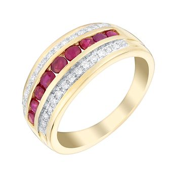 9ct yellow gold ruby and 10pt diamond ring - Product number 3077217