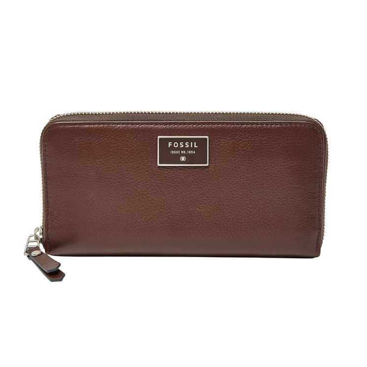 Fossil Dawson ladies' brown leather zip clutch bag - Product number 3078280