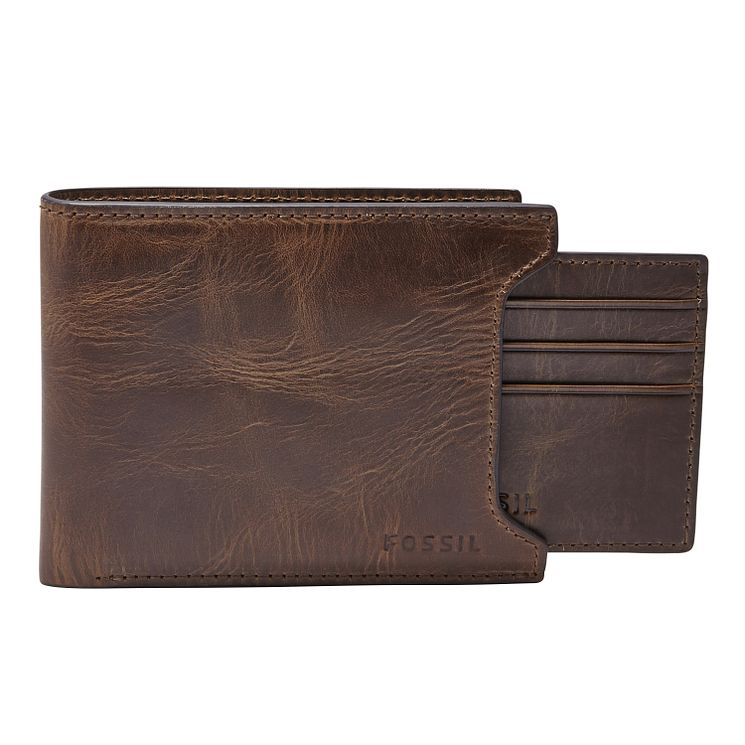 Fossil Derrick dark brown leather sliding 2 in 1 wallet - Product number 3079880