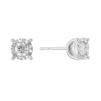 9ct white gold 60pt illusion set solitaire diamond earrings - Product number 3081354