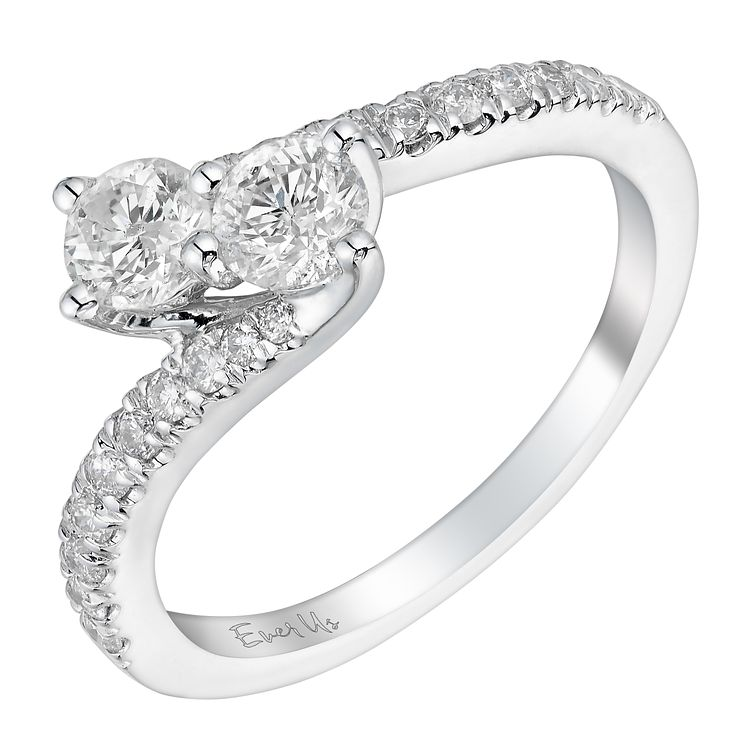 Ever Us 14ct white gold 3/4 carat two stone diamond ring - Product number 3083055