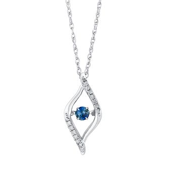 Silver 10pt white diamond & blue sapphire drop pendant - Product number 3084590