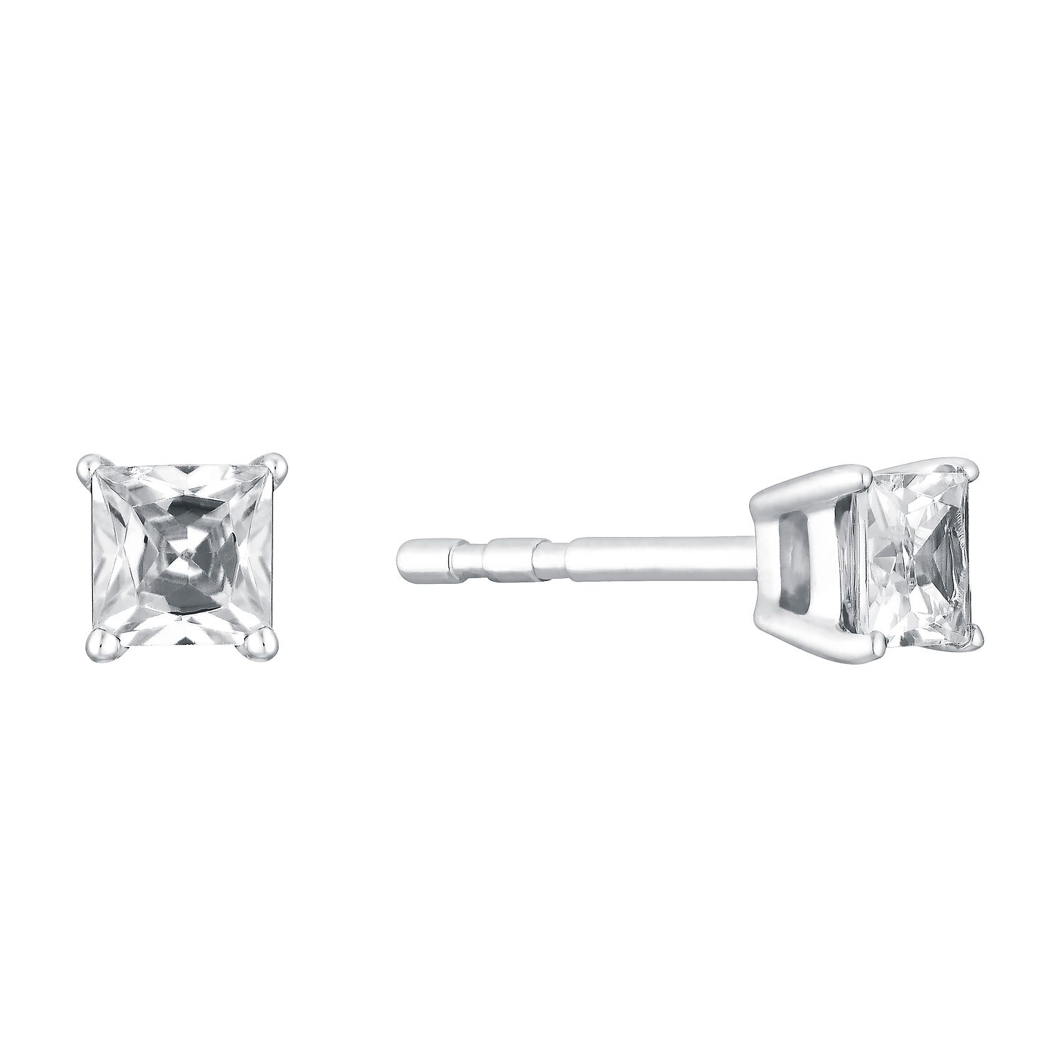 earrings aura cushion de gold beers diamond earring cut white square stud