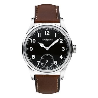 Montblanc men's stainless steel brown leather strap watch - Product number 3084884
