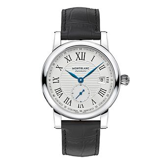 Montblanc men's stainless steel black leather strap watch - Product number 3085171