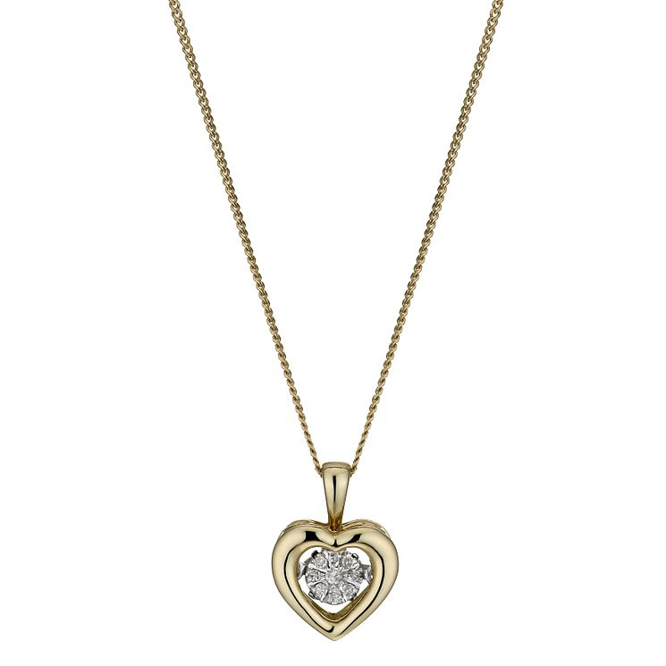 Diamonds in Rhythm 9ct Gold Diamond Heart Pendant - Product number 3087158