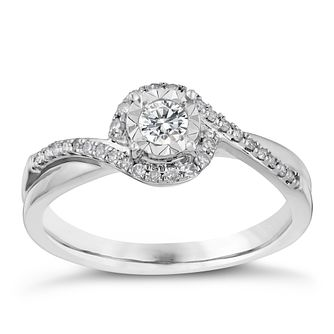 9ct white gold 1/4ct illusion set solitaire diamond ring - Product number 3107892