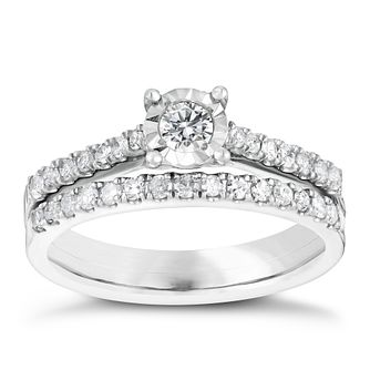 9ct white gold 0.50ct illusion set diamond bridal set - Product number 3110699