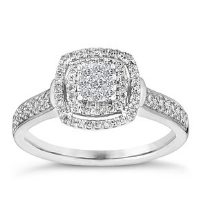 9ct white gold 1/3ct cushion diamond cluster ring - Product number 3114449