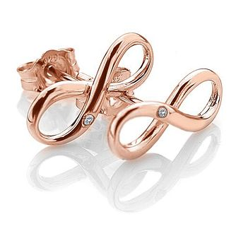 Hot Diamonds Ladies' Rose Gold Plated Infinity Earrings - Product number 3127249