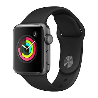 Apple Watch Series 3 38mm Grey Case with Black Sport Band - Product number 3156877