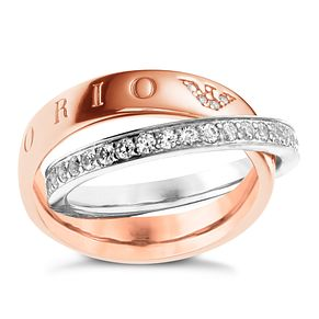 Emporio Armani Sterling Silver & Rose Gold Tone Ring P - Product number 3165205