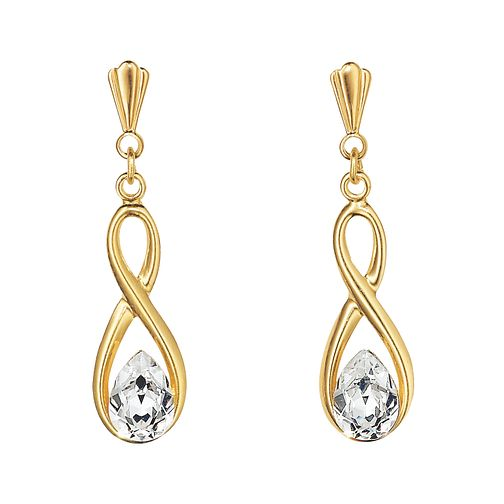9ct Gold Cubic Zirconia Figure of 8 Drop Earrings - Product number 3185907