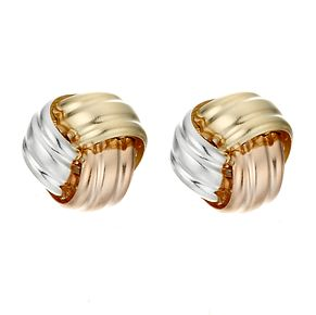 9ct Three Colour Gold Open Knot Stud Earrings - Product number 3186199