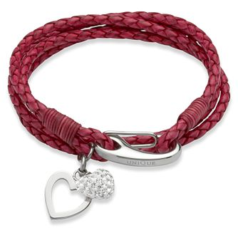 Unique cyclamen leather stainless steel two charm bracelet - Product number 3233219