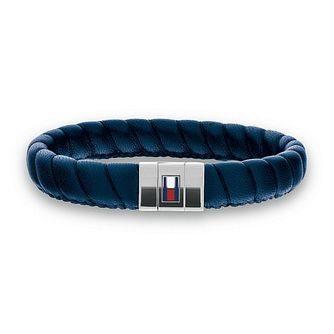 Tommy Hilfiger Men's Blue Leather Braided Bracelet - Product number 3234983