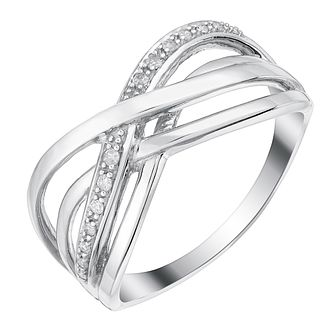 9ct White Gold Woven Kiss Design Diamond Eternity Ring - Product number 3252299