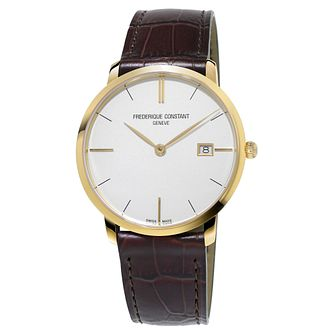 Frederique Constant Slimline Men's Gold Plated Strap Watch - Product number 3322017