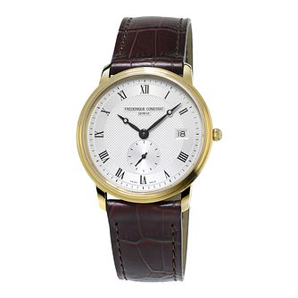 Frederique Constant Slimline Men's Gold Plated Strap Watch - Product number 3322181