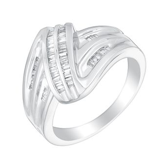 Sterling silver 0.25ct diamond swirl ring - Product number 3393224