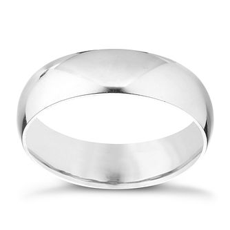 18ct White Gold 5mm Extra Heavy D Shape Ring - Product number 3400069