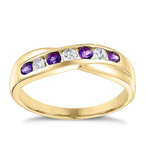 9ct Yellow Gold Amethyst & Cubic Zirconia Eternity Ring - Product number 3407195