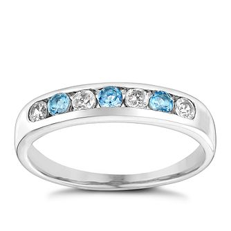 9ct White Gold Blue Topaz & Cubic Zirconia Eternity Ring - Product number 3410897