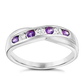9ct White Gold Amethyst & Cubic Zirconia Eternity Ring - Product number 3412539