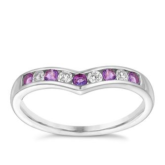 9ct White Gold Cubic Zirconia & Amethyst Eternity Ring - Product number 3413349