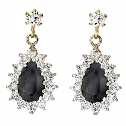 Gold Sapphire & CZ Earrings - Product number 3415988