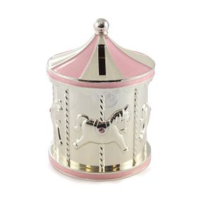 Little Princess Silver Plated Pink Carousel Money Box - Product number 3419886