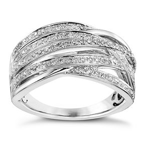 Sterling silver 1/3ct diamond multi-strand ring - Product number 3421457
