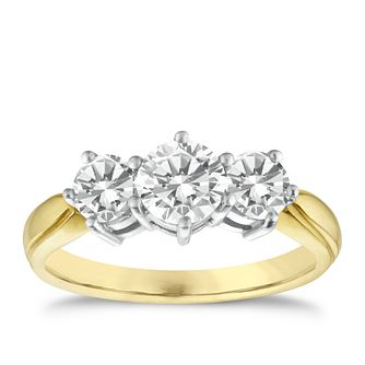 18ct gold one and a 0.50ct three diamond ring - Product number 3425479