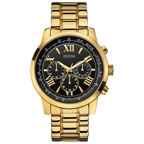 Guess Men's Black Dial & Yellow Gold Plated Bracelet Watch - Product number 3427854